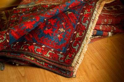 folded oriental rug