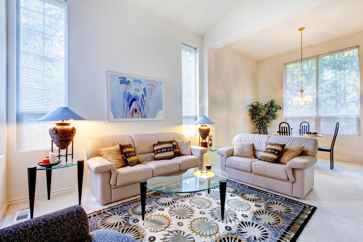 living room with a centered rug